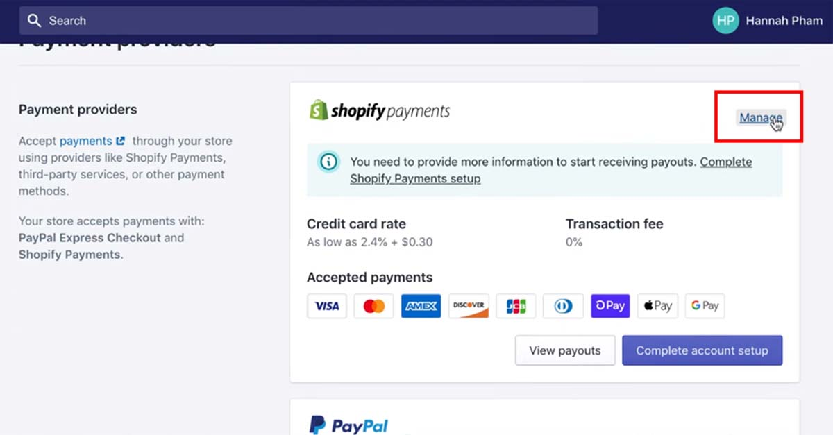 Open currencies setting in Shopify 2