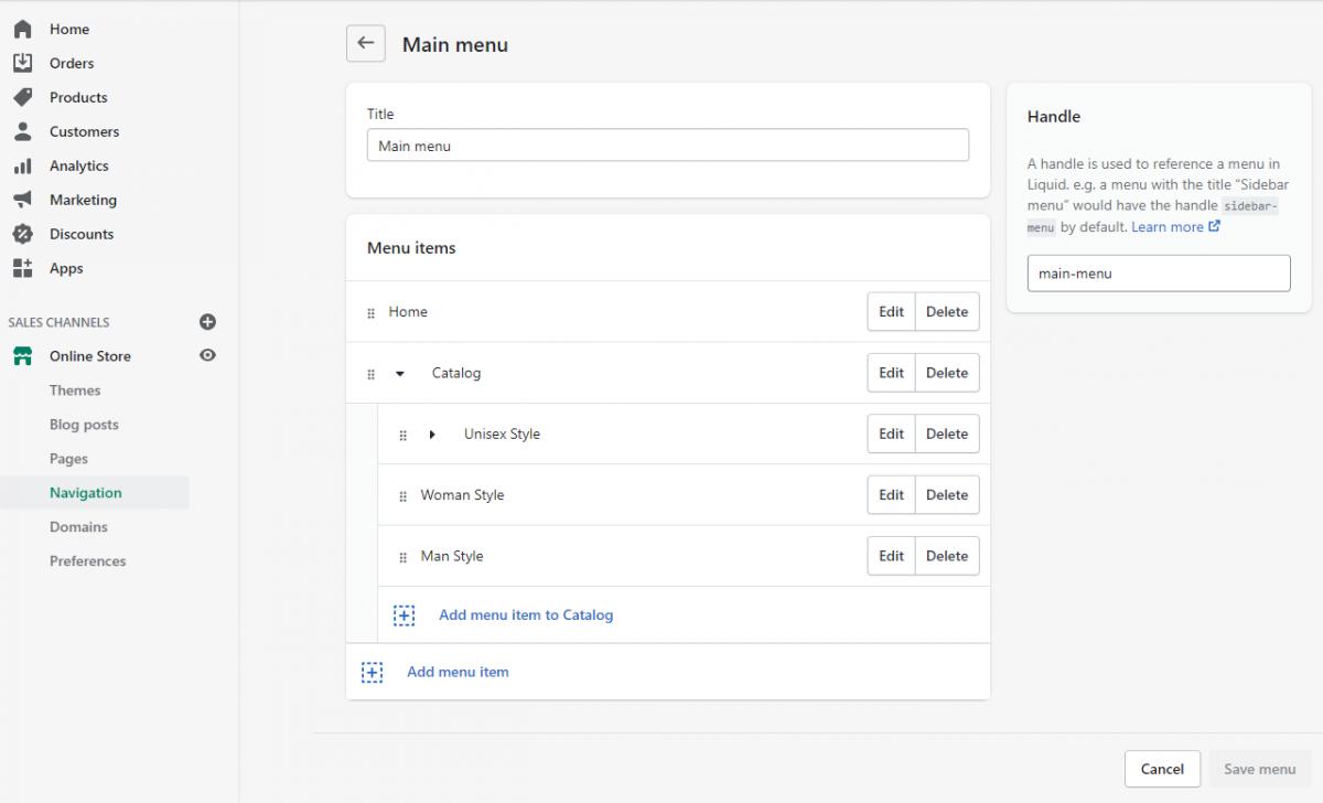 How to define the mega menu structure