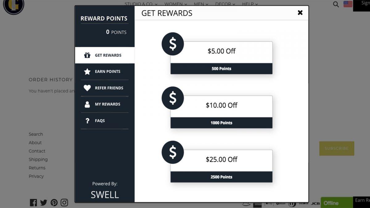 shopify tips - take advantages of reward program