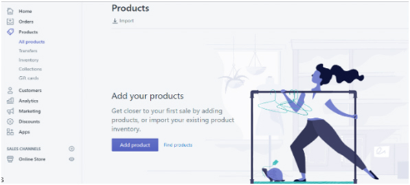 set up a Shopify store-add products