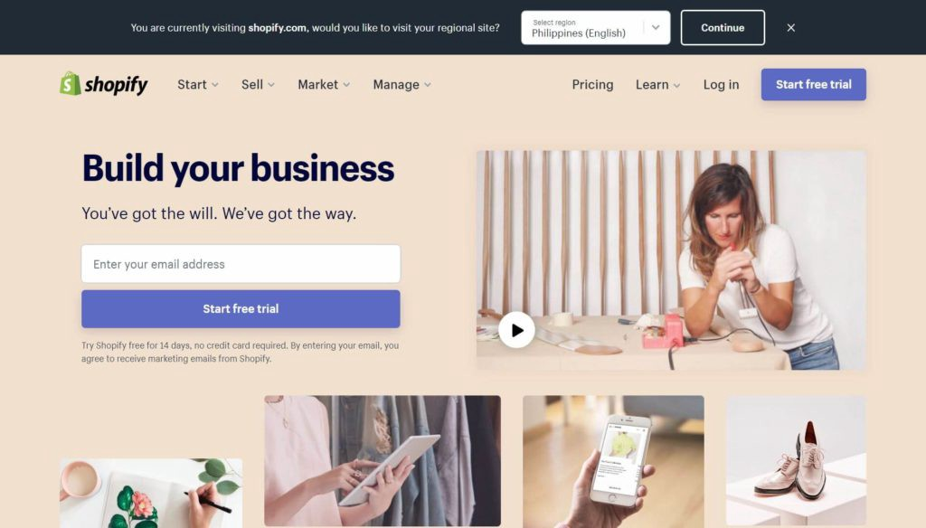 online business with Shopify