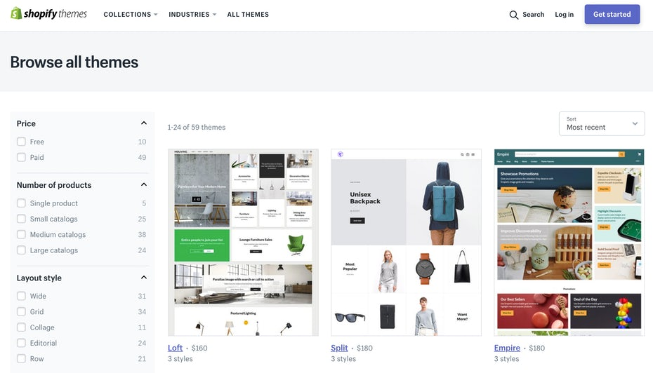 pre-built Shopify themes
