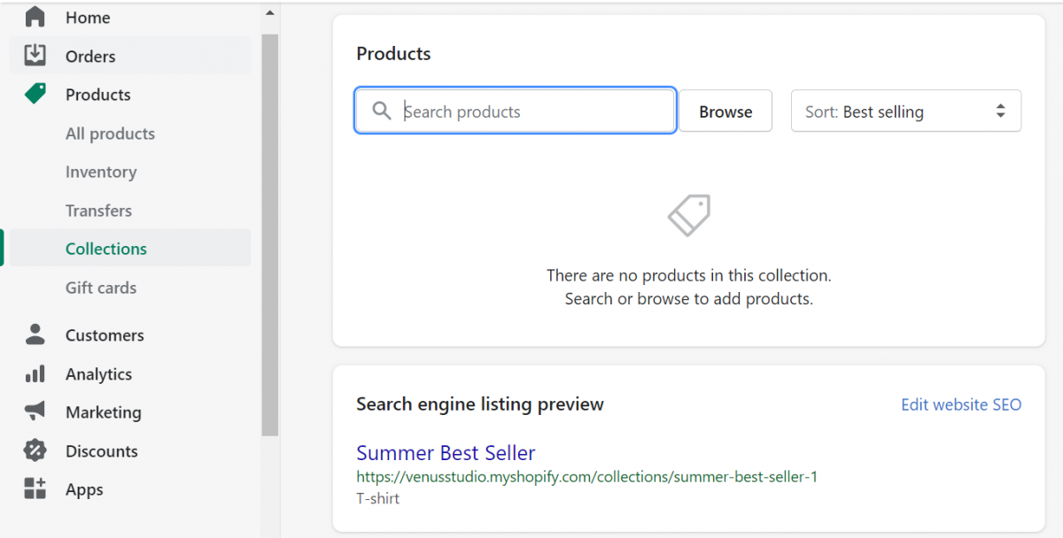 shopify collections-add products