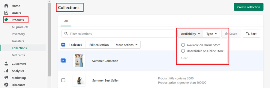 shopify collections-collection availability