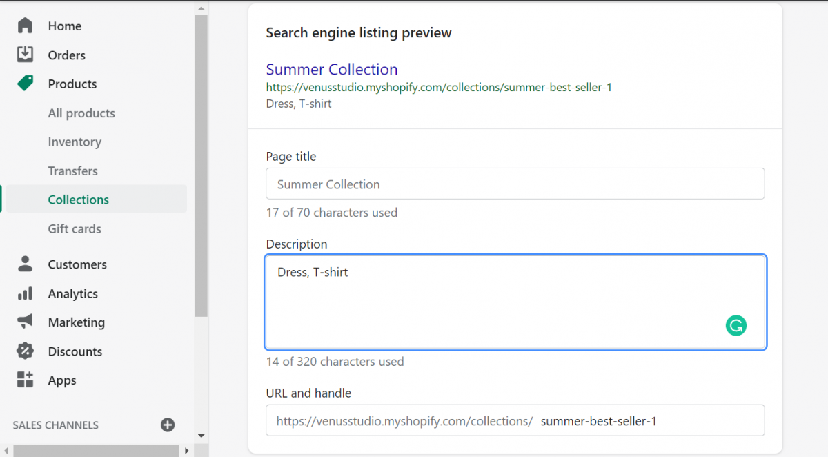 shopify collections-search engine listing preview