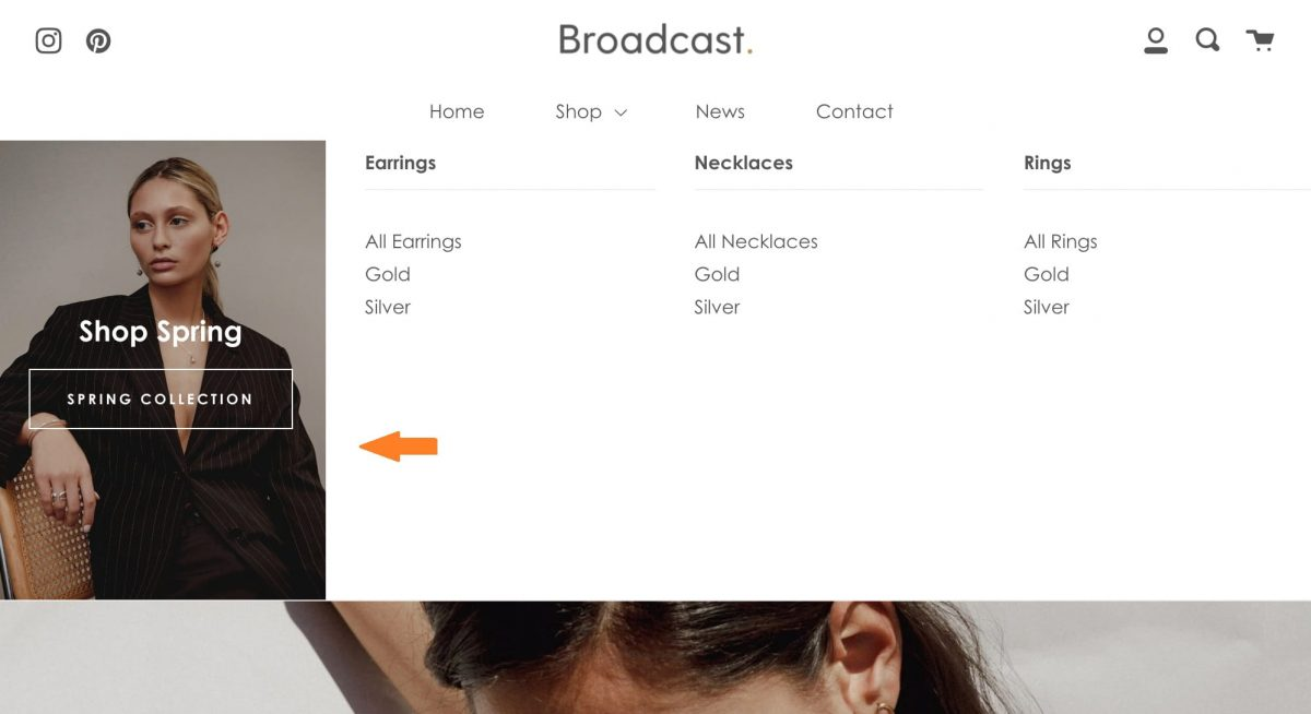An image in Shopify mega menu makes it attractive