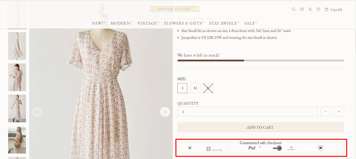 Social proof - example of Shopify store: Adored vintage