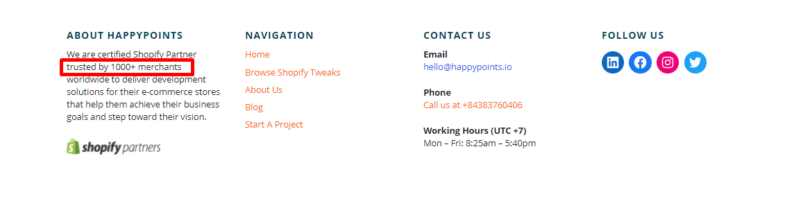 Example of social proof in footer - HappyPoints
