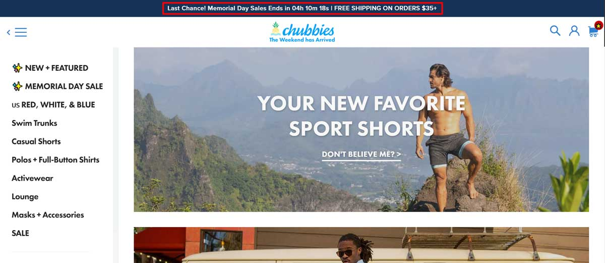 announcement bar of chubbies with timer countdown