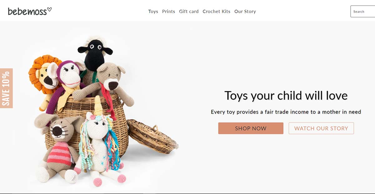 prominent call-to-action on front page of a Shopify toy store