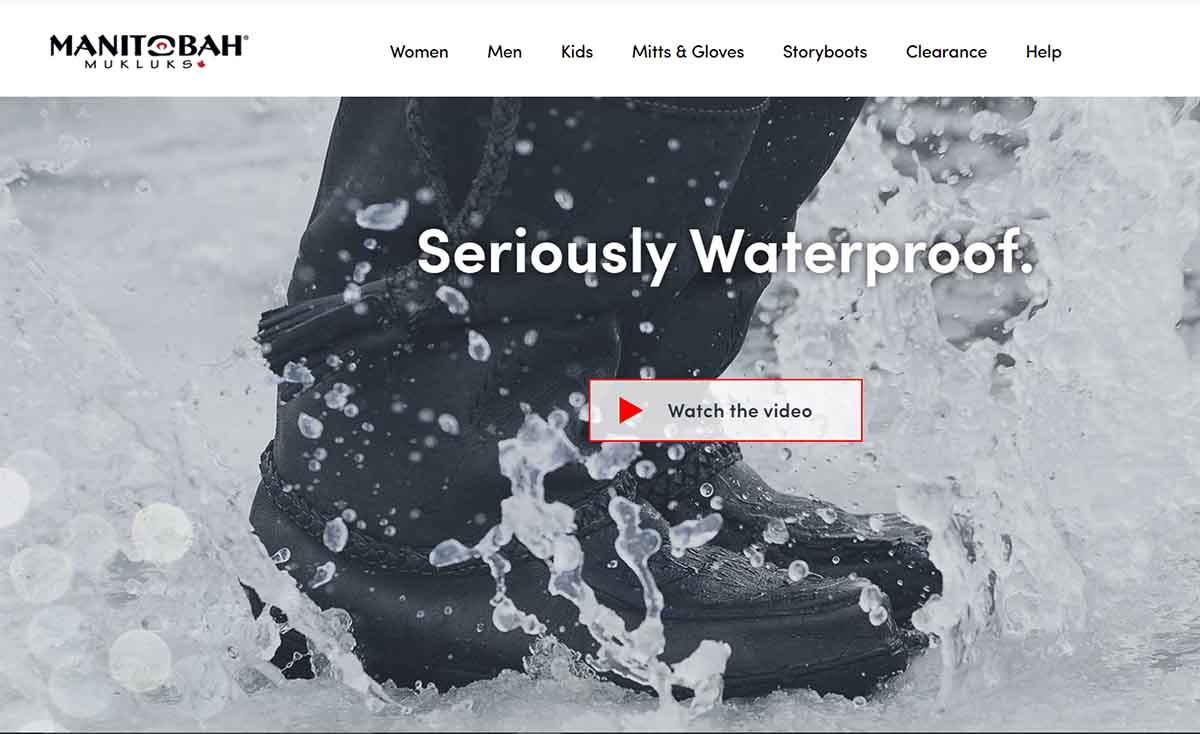 homepage video about waterproof boots on a Shopify store