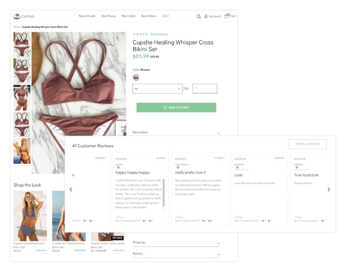 Social proof is shown on the Shopify product page