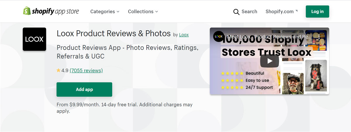 Shopify app - loox