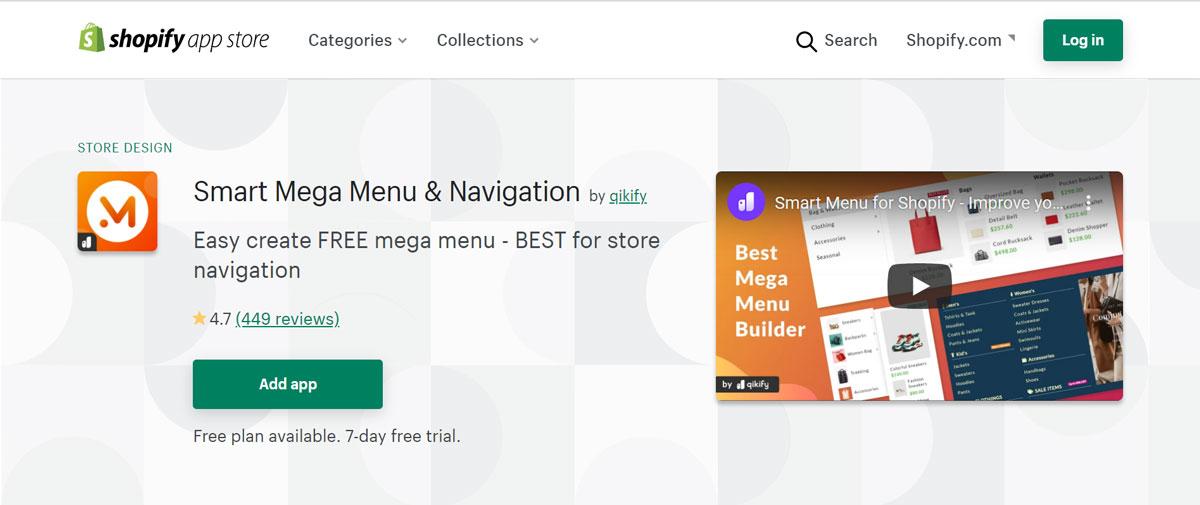 Smart Mega Menu and Navigation app