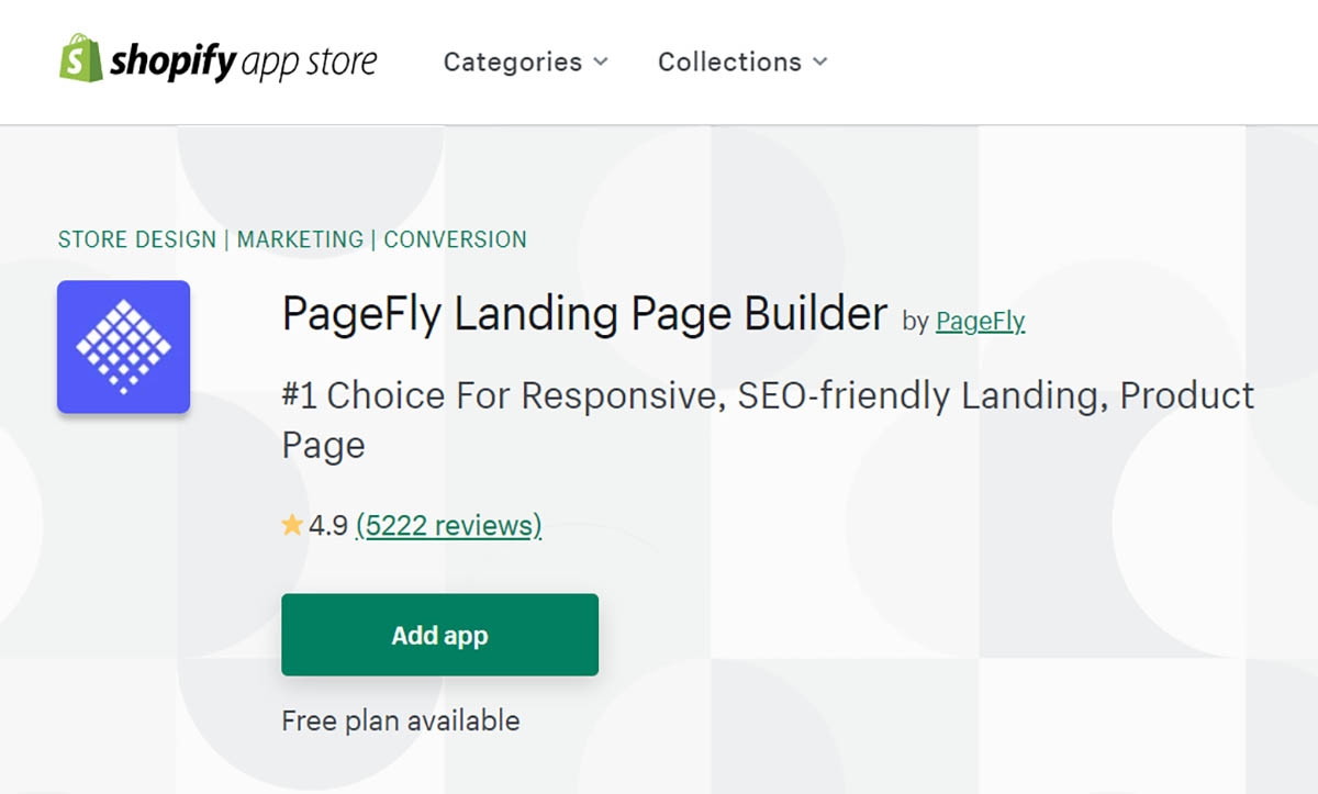 PageFly app on Shopify app store