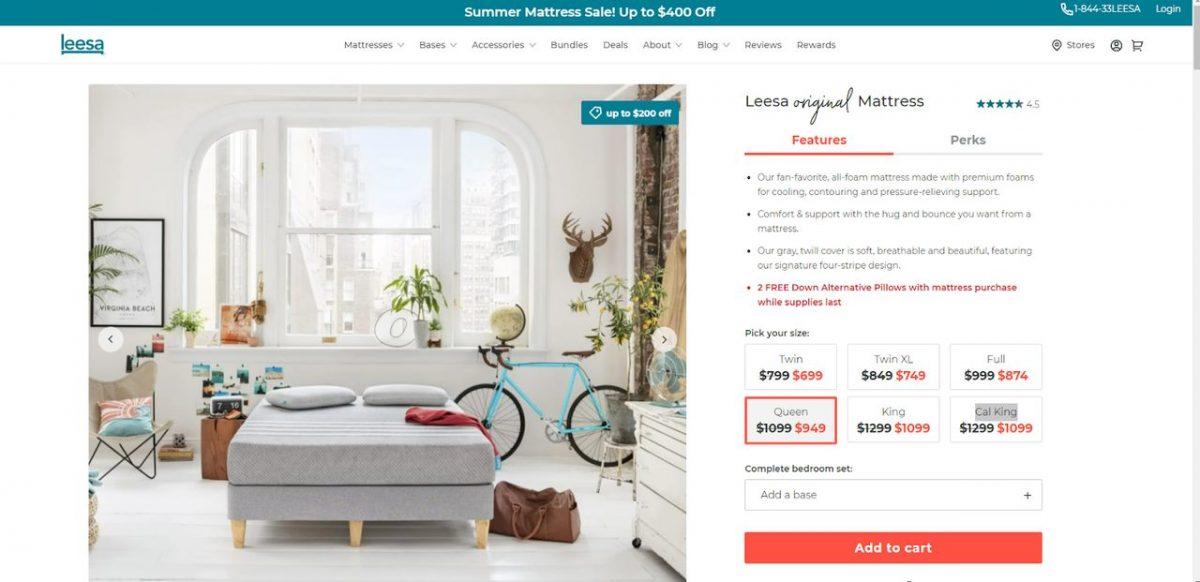 leesa product page