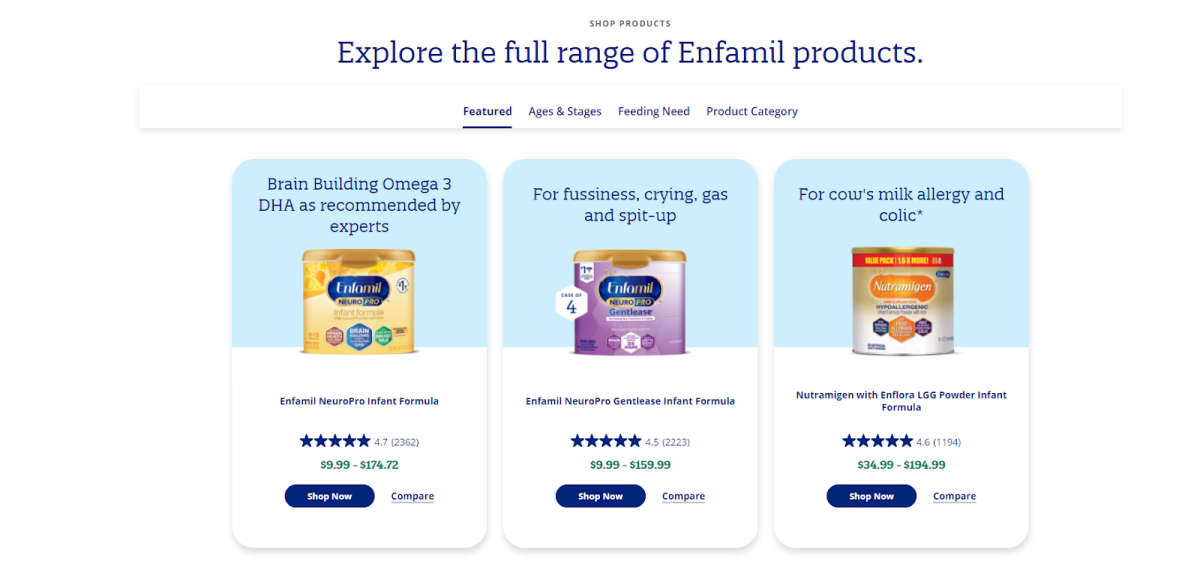 enfamil product recommendations
