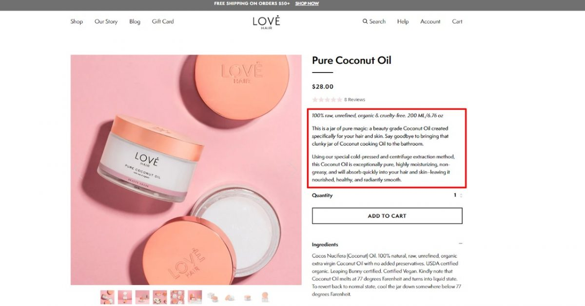 lovehair product page
