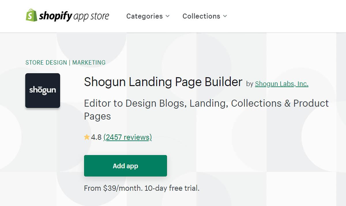 Shogun home page builder