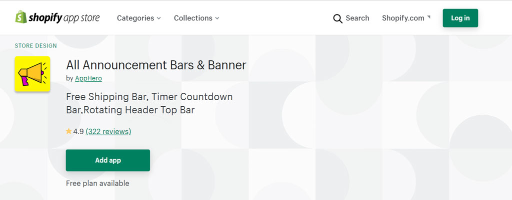 Shopify app - All announcement bars and banner