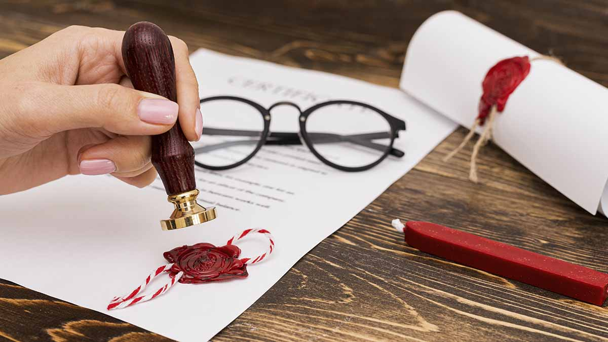 trust wax seal on business document