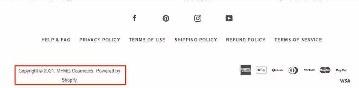 MFMG Cosmestics has long copyright notice