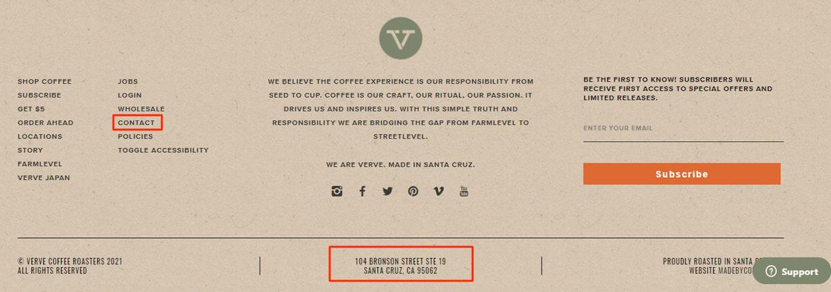 Verve Coffee Roasters footer menu