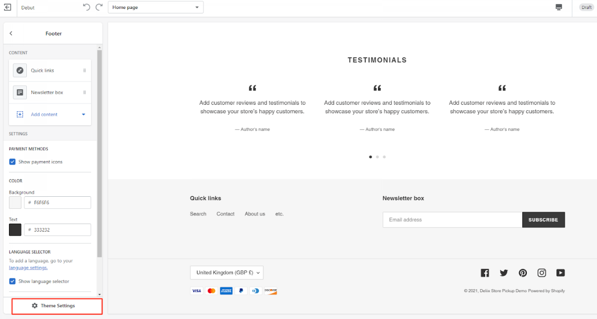 add social icons to shopify footer