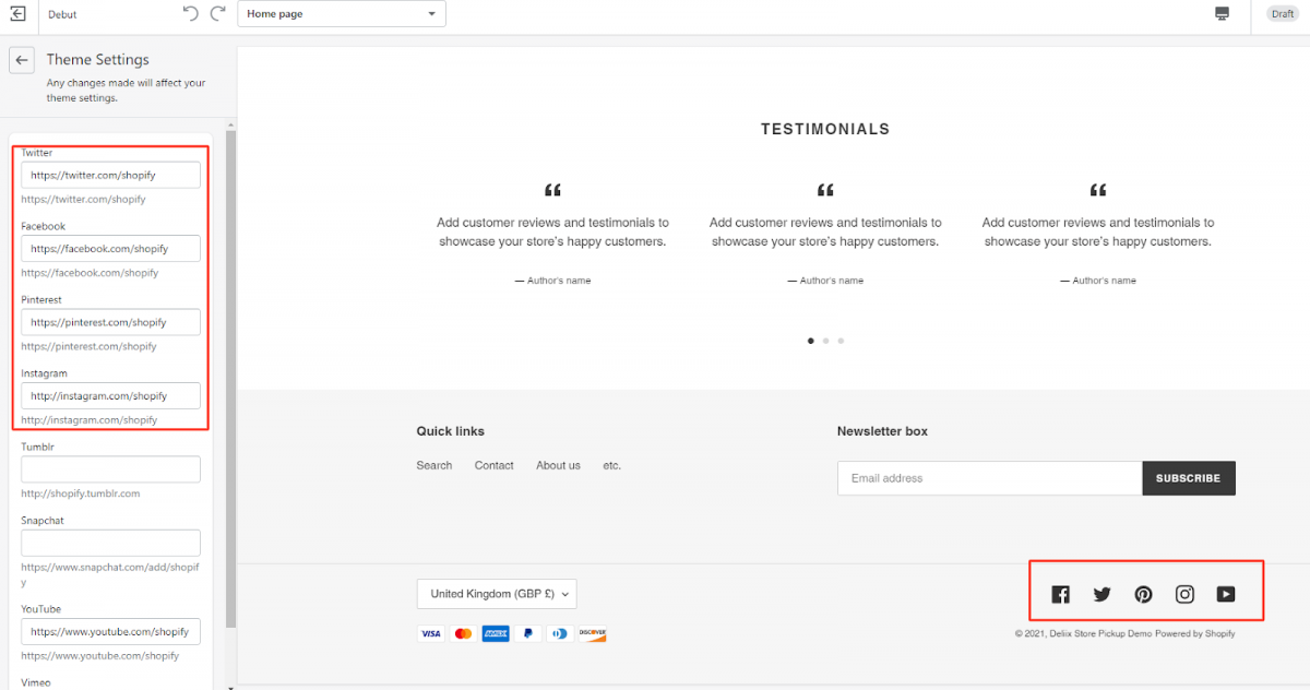 add social icons to shopify footer 2