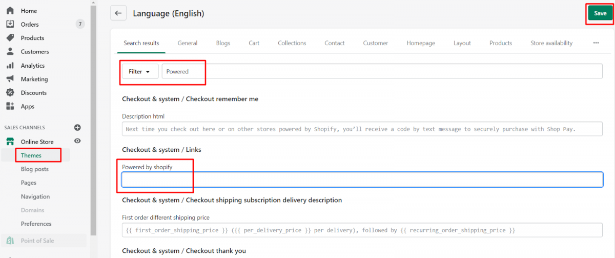 Change the copyright footer in Shopify 2