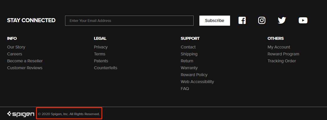 "Spigen.com uses ""All rights reserved"""