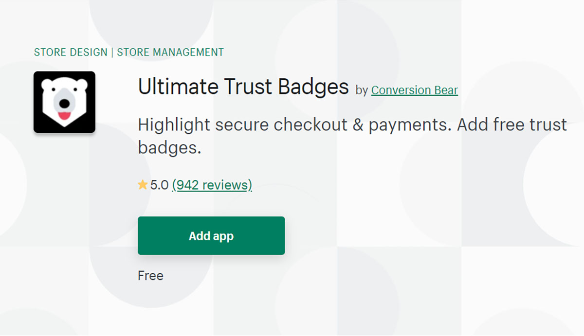 ultimate trust badges by Conversion Bear on Shopify app store