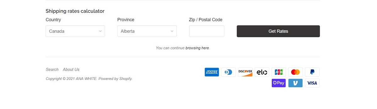 AnaWhite adds a shipping cost calculator on their shopify cart page