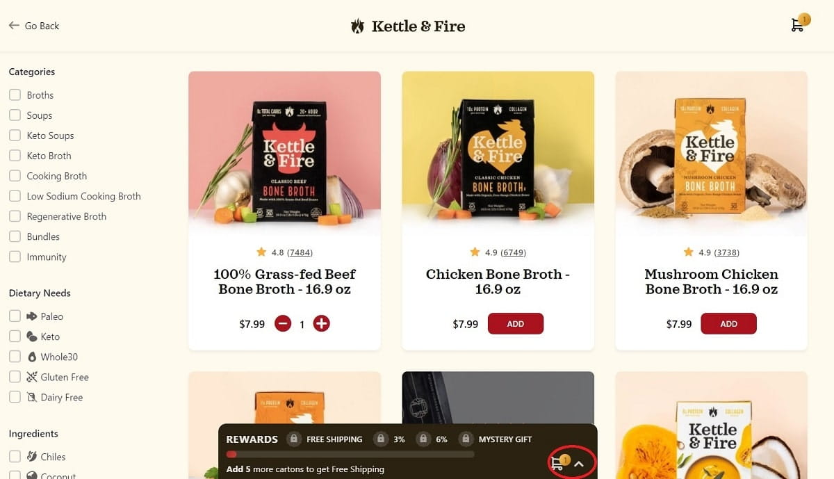 Kettle And Fire shopify cart page uses cart drawer model