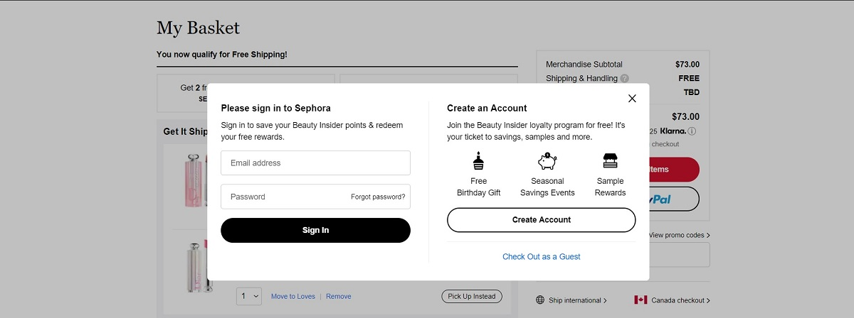 sephora sign-up on their shopify cart page