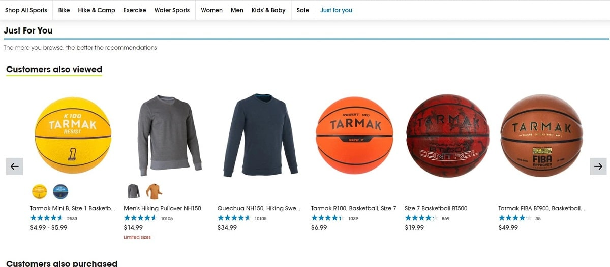 Example of  product recommendation on Shopify product pages