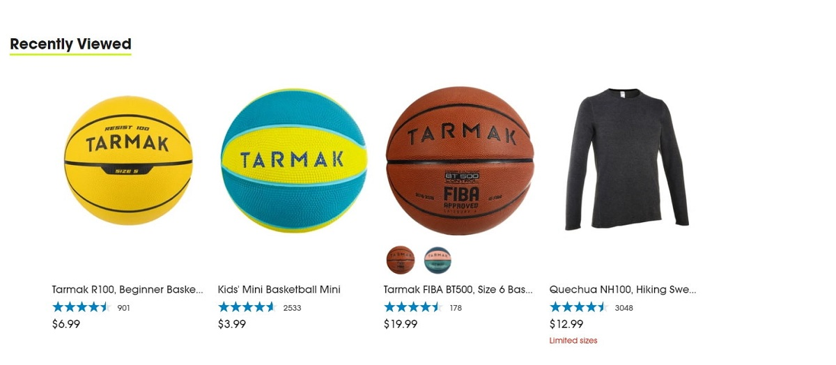 example of recently viewed items on Shopify product pages